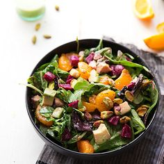 Delicious Cubby Salad Copycat -- Mixed Greens with toasted pistachios, beets, oranges, avocado, and an orange poppyseed dressing made with no refined sugar!