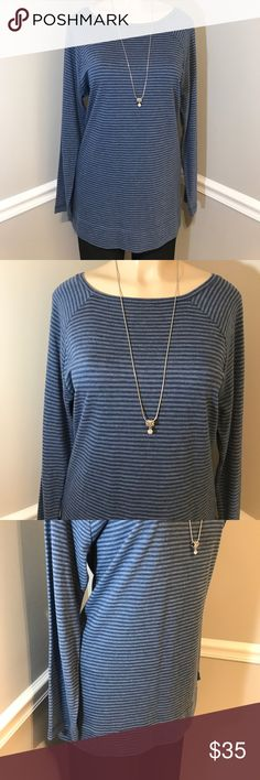 """J. JILL Pima Cotton Striped Long Sleeve Top Size L This super soft shirt makes you want to curl up on the couch & watch your favorite movie. New with Tags. Bust measures 22"""" laying flat. Length 31"""" shoulder to hem. Sleeve length 25"""". Smoke free home. (KB) J. Jill Tops Tees - Long Sleeve"""