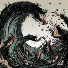 Yuko Shimizu (although a slightly hairier echo of The Great Wave's curl) and Kozyndan (with a bunny-spitting remake), have created a unique set of variations inspired by the Great Wave as shown below. Description from helengreen.tumblr.com. I searched for this on bing.com/images