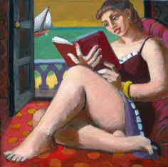 """""""A Good Book, figurative painting, woman, contemporary figure painting, woman painting women"""" - Original Fine Art for Sale - © Marie Fox"""