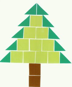 Met vierkantjes en driehoeken een kerstboom naleggen, opleggen,...