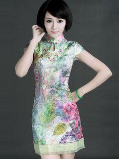 Floral Short Summer Qipao / Cheongsam / Chinese Dress