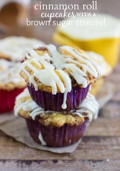 Cinnamon-Roll Cupcakes with a Sugar Streusel and a Cream Cheese Glaze Recipe on Yummly. @yummly #recipe