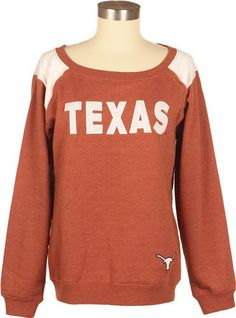 Ladies Texas Longhorn Boatneck Fleece in Burnt Orange - love the vintage style, I can envision the stadium filled with folks 30 years ago with something similar. Looks super soft and comfy!