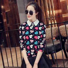 2015 spring women lapel wild long-sleeved shirt printing Diamond USD$12.00