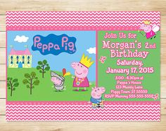 ON SALE Printable Peppa Pig Invitation Pink by ApothecaryTables