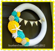 Southern Traditions Boutique~ Pretty Beach inspired wreath, made with a pool noodle! :)