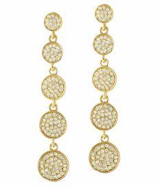 Starry Disc 5 Drop Earrings #Gold #Long #Drop #Sexy #Earrings #Summer #Karen_Kane #Designer #Fashion #Jewelry #Rhinestone #Accessories