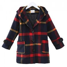 In the autumn and winter of 2018, the girl's thick-checked plaid coat.  Price: 47.96 & FREE Shipping  #fashion #sport #tech #lifestyle Plaid Coat, Girl Outfits, Tech, Autumn, Free Shipping, Sport, Lifestyle, Winter, Clothing