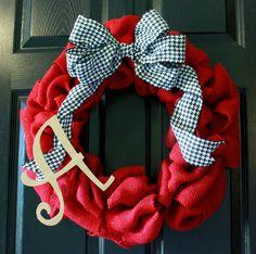 Alabama Crimson Tide Red Burlap Wreath Houndstooth by BoaAndBoo, $53.00