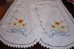 Arm Chair doilies Hand Embroidered with crocheted edging c. 1960s