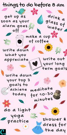 Vie Motivation, Morning Motivation, Happiness Challenge, Self Care Activities, Good Habits, Healthy Habits, Self Improvement Tips, Self Care Routine, Self Development