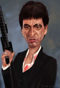 Scarface - an illustration of Tony Montana posing with his little friend #GangsterMovie #GangsterFlick