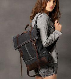 Cuero genuino lona mochila / bolsa de lona / Laptop Bag / bolsa de viaje / cuero bolso en gris