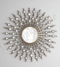 "Art Deco 39"" Modern Silver Sunburst Starburst Wall Mirror XL Oversize HORCHOW #MySwankyHome"