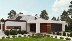 Projekt domu parterowego uA65 o pow. 120,7 m2 z obszernym garażem, z dachem kopertowym, z tarasem, sprawdź! Grenada, Outdoor Decor, Plans, Home Decor, Houses, Projects, Granada, Homes, Decoration Home