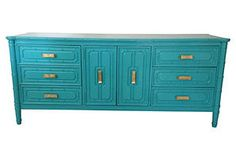 One Kings Lane - Turquoise Faux-Bamboo        Dresser
