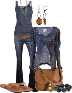 Love the sweater, top and earrings  Casual  outfit idea for late fall or spring.