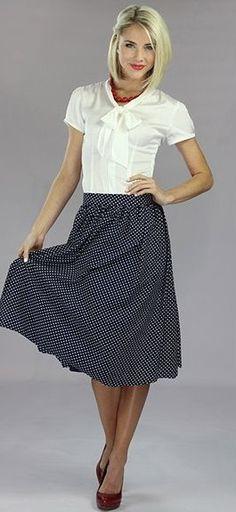 Chiffon Print A-line Skirt - Navy-Chiffon Print Skirt - Navy