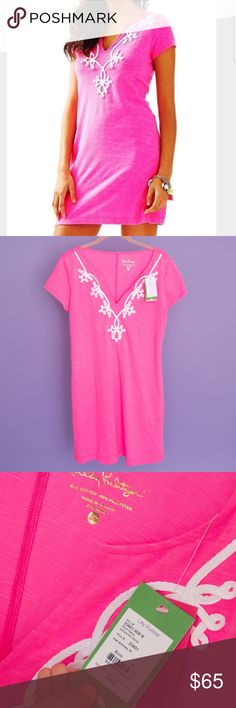 NWT Lilly Pulitzer Hot Pink Brewster T-Shirt Dress NWT - The Brewster Dress is the perfect every day summer dress. This short sleeved pink dress is easy to wear and can easily be layered with a cardigan or light jacket. Solid Short Sleeve T-Shirt Dress, With Notched Neckline And Soutache At Neckline. 18' From Natural Waist To Hem. PLH Cotton/Polyester Neon Slub (60% Cotton, 40% Polyester). Imported. Lilly Pulitzer Dresses Mini