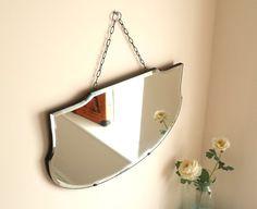 True Vintage Art Deco Bevelled Edge Wall Mirror Shield Shaped Frameless Chain