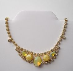 Vintage Yellow Opal and  Rhinestone Necklace