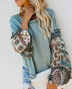 Autumn Winter Women Long Sleeve Bohemian Knit Patchwork Blouse Casual O Neck High Low Ladies Loose Tops Boho Chic, Boho Style, Boho Fashion, Womens Fashion, Fashion Trends, Fashion Fall, Style Fashion, Latest Fashion, Bohemian Tops
