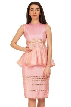 Powder Pink Peplum Top And Skirt Set  #pushpak #vimaam #clothing #pink #peplum #top #pencil #skirt #fabric #tussar #silk #shades #brahma #back #overlay #frills #work #embroidery #glass #hemline #motifs #floral #gold #indian #western #new #traditional #summer #elegent #online #shopnow #onceuponatrunk