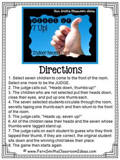 Fern Smith's Classroom Ideas ~ Indoor Recess ~ Heads Up 7-Up Directions