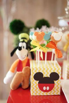 Mickey pops at a Mickey Mouse birthday party! See more party ideas at CatchMyParty.com!