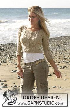 """Kort DROPS jakke med snoninger, perlestrik og ¾ lange ærmer i """"Cotton Viscose"""". Str S-XXL ~ DROPS Design"""