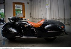 Custom art deco-inspired motorcycle, built by O. Ray Courtney in 1936. Based upon a 1930 K.J. Henderson.