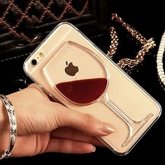Cocktail Red Wine Glass Moving Liquid Gel Case Cover For iPhone 4 5 6 Plus Iphone 7, Apple Iphone, Iphone 5s Covers, Iphone Phone Cases, Free Iphone, Wine Case, Cocktail, Mobile Cases, Mobile Phones
