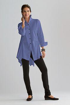 Peplum Shirt: Planet Clothing: Cotton Woven Shirt - Artful Home