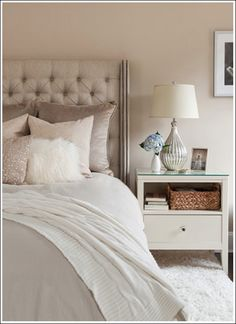 my dream bedroom, love all the different shades of light neutrals