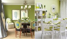 White and green dining room colors