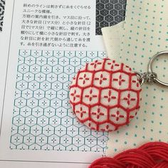 Having fun with Hitomezashi patterns. There are a few I want to try on the pre-stenciled dot grid fabric. One key-ring gift for someone? #hitomezashi #bebebold #sashiko #keyring #happyandcontented