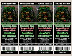 TMNT Ticket Invitation by PerfectPrintsStudio on Etsy, $5.00