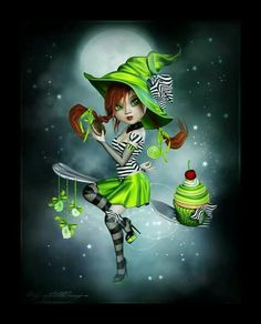 Candy Witch - Little Design Halloween Painting, Vintage Halloween, Halloween Crafts, Halloween Decorations, Holly Hobbie, Happy Halloween, Witch Pictures, Witch Art, Little Designs