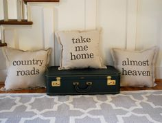 I love these!!!!!!!!!!!!!Set of 3 West Virginia Themed Throw Pillows. >>>super easy diy for nanny & me
