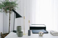 Home office - Details - Arne Jacobsen lamp - Skultuna - Corner House - ESNY - Eklund Stockholm New York
