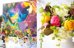 It's just rolled up construction paper stuck into chicken wire as the background to the bride and groom's table. Boom!