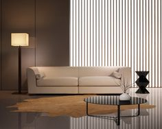 Elegant contemporary fresh interior with beige leather sofa