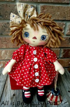 Primitive Raggedy Annie - Libby with her Liberty Bell by Allisbright on Etsy