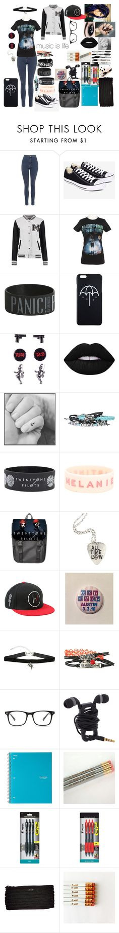 """""""emo school"""" by sbaez-2 ❤ liked on Polyvore featuring Topshop, Converse, Lime Crime, Pilot and BAM BAGS"""