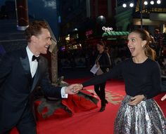Tom Hiddleston and Natalie Portman at the World Premiere of 'Thor: The Dark World'... I'd make this face too