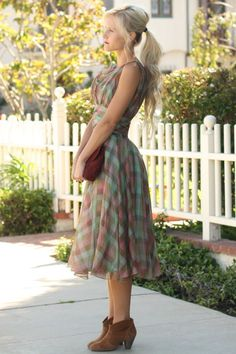 vintage dress, modern accessories