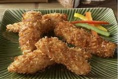 Order Wholesale Coconut Chicken Tenders for Event - Gourmet Frozen Chicken Appetizers (Set of 4 Trays) Frozen Appetizers, Gourmet Appetizers, Chicken Appetizers, Appetizer Recipes, Coconut Chicken Strips, Coconut Chicken Tenders, Primal Kitchen, Honey Mustard Chicken, Chicken Tender Recipes