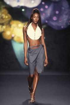Todd Oldham runway show, Naomi Campbell, spring 1997. [Photo by Dan Lecca/Courtesy of Todd Oldham Studio]