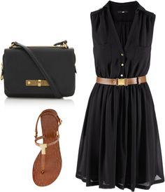 """""""Black Belted Dress"""" by sara-schmidt on Polyvore"""